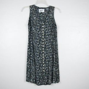 Vintage Pearl Button Front Sleeveless Floral Mini